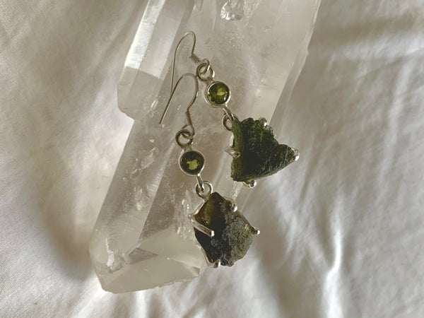 Moldavite + Peridot Sanaa Earrings - Jewels & Gems