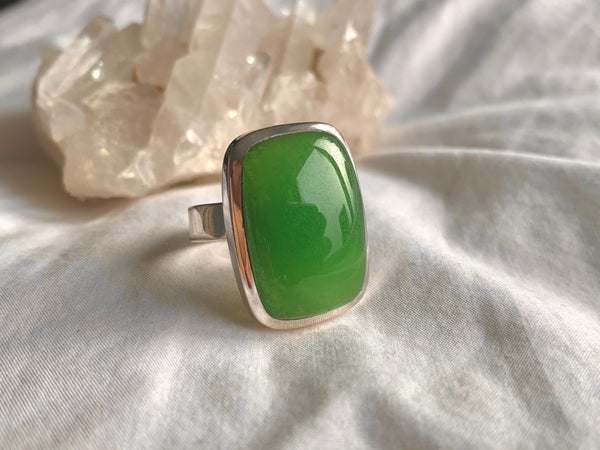 Nephrite Jade Adjustable Ring - Square - Jewels & Gems