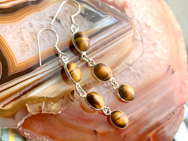 Tiger's Eye Akoni Earrings - Triple Drop - Jewels & Gems