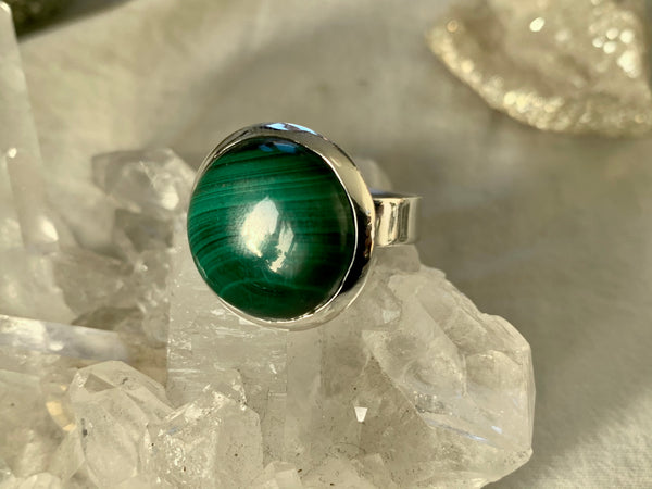 Malachite Adjustable Ring - Round (One of a kind)