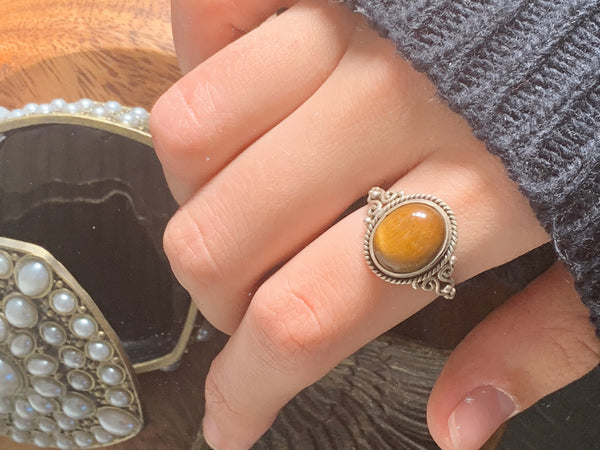 Tiger's Eye Aleta Ring - Jewels & Gems