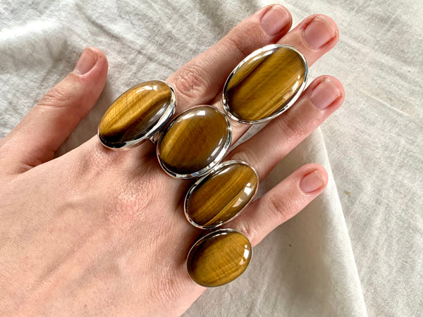 Tiger's Eye Naevia Rings - Long Oval - Jewels & Gems