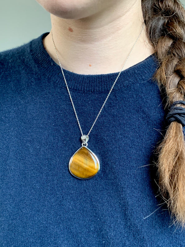 Tiger's Eye Meriall Pendant - Teardrop - Jewels & Gems