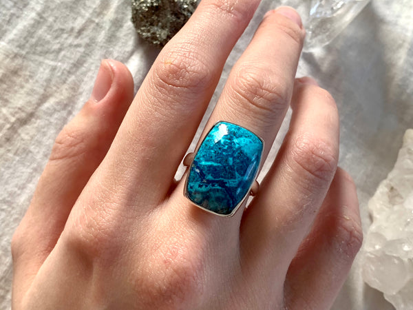 Shattuckite Adjustable Ring - Square (One of a kind) - Jewels & Gems
