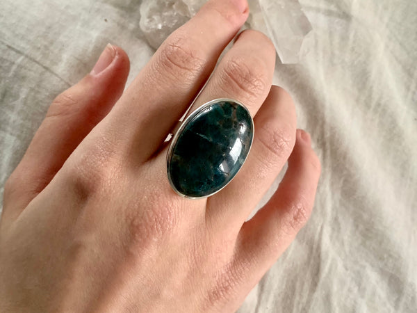 Dark Blue Apatite Akoni Ring - Large Oval (US 8.5) - Jewels & Gems