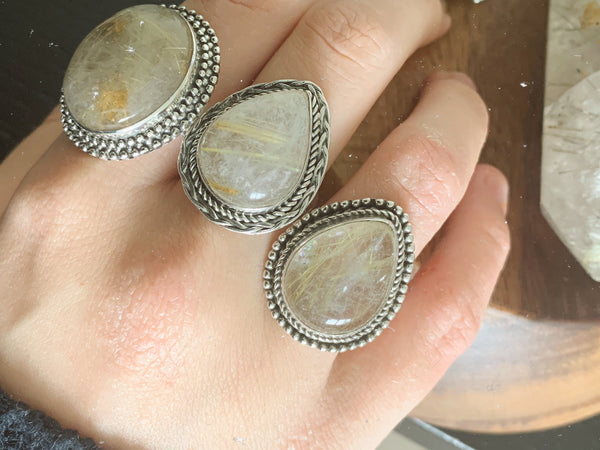 Rutilated Quartz Gala Rings Mix - Jewels & Gems