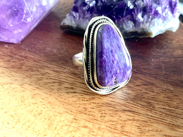 Charoite Cassia Ring - Freeform (US 6) - Jewels & Gems