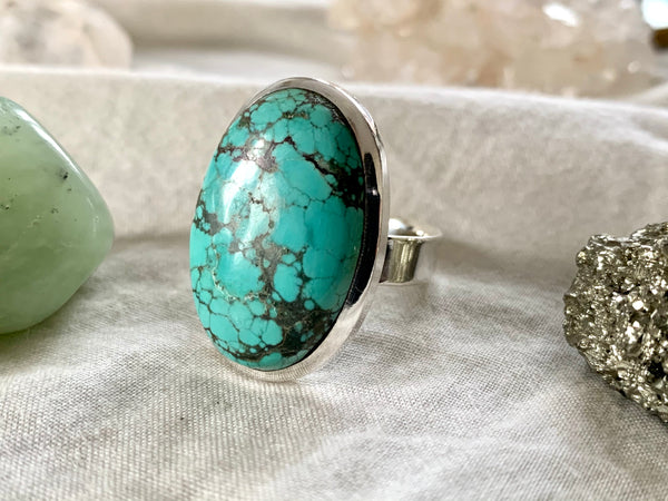 Tibetan Turquoise Adjustable Ring - Large Oval - Jewels & Gems