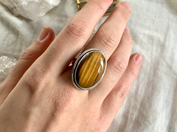 Tiger's Eye Brea Ring - Medium Oval - Jewels & Gems