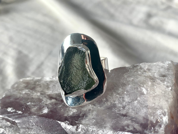 Moldavite Medea Ring - Large Freeform (US 8.5) - Jewels & Gems