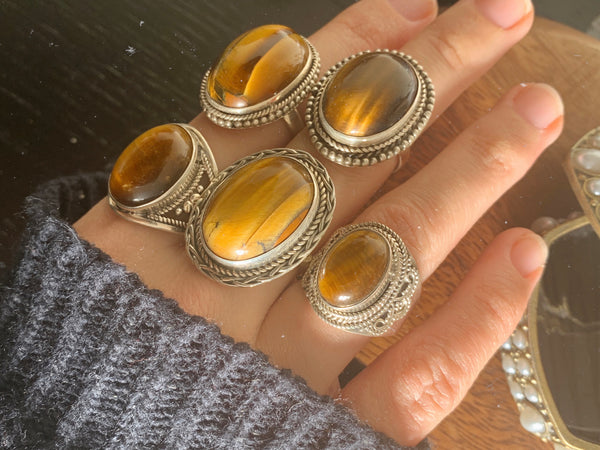 Tiger's Eye Rings Mix - Large Designed - Jewels & Gems