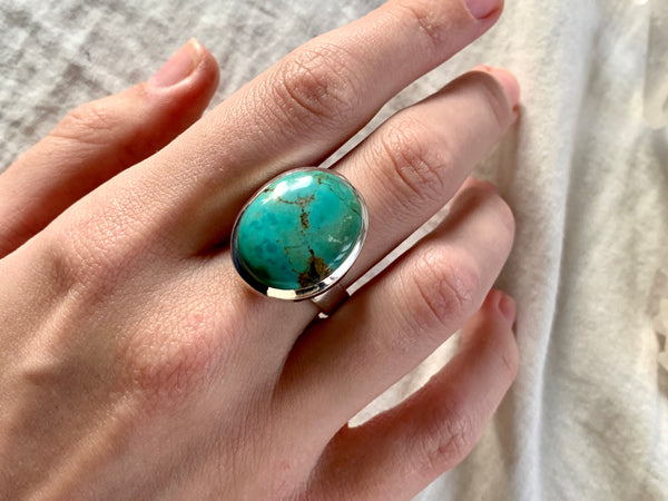 Tibetan Turquoise Adjustable Ring - Reg. Oval - Jewels & Gems