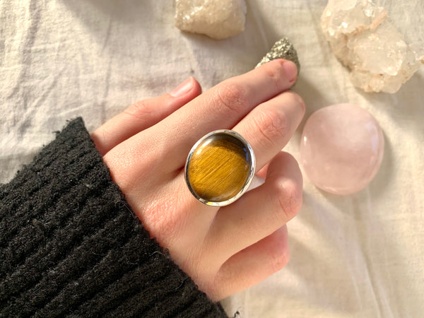 Tiger's Eye Adjustable Ring - Asymmetric Oval (One of a kind) - Jewels & Gems