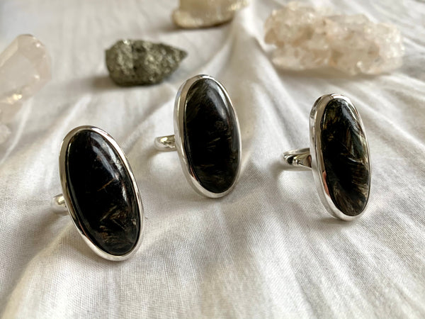 Seraphinite Naevia Rings - Long Oval - Jewels & Gems