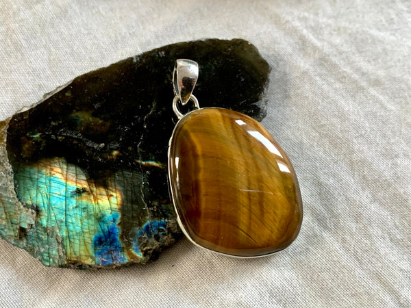 Tiger's Eye Akoni Pendant - Freeform - Jewels & Gems
