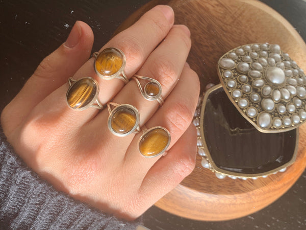 Tiger's Eye Rings Mix - Small Plain - Jewels & Gems
