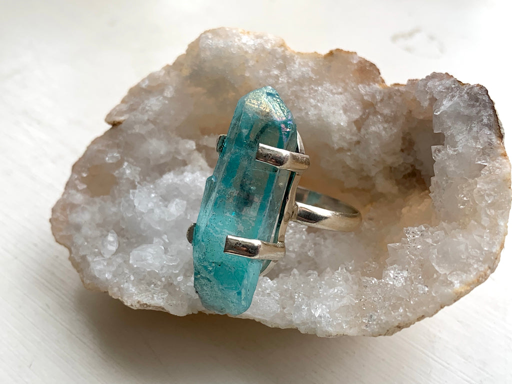 Medium Blue Aura Quartz Sanaa Ring (US 7) - Jewels & Gems