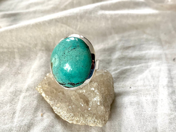 Tibetan Turquoise Adjustable Ring - Large Round - Jewels & Gems