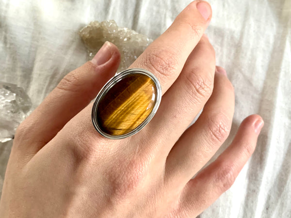 Tiger's Eye Brea Ring - Large Oval (US 7) - Jewels & Gems