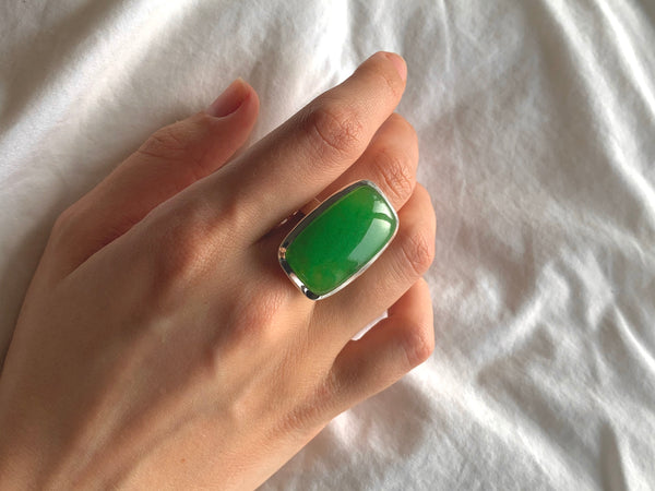 Nephrite Jade Adjustable Ring - Large Rectangle - Jewels & Gems