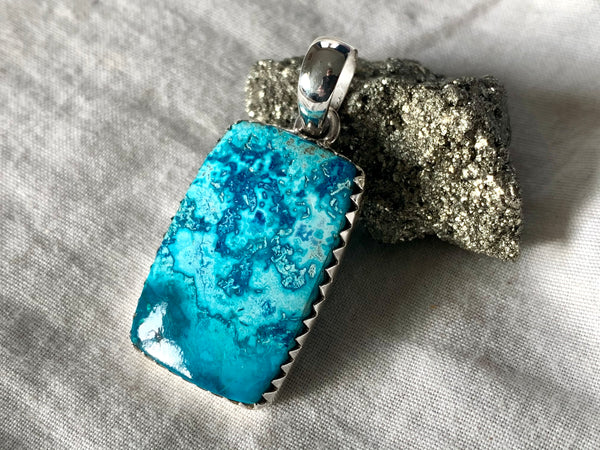 Shattuckite Juno Pendant - Rectangle (One of a kind) - Jewels & Gems