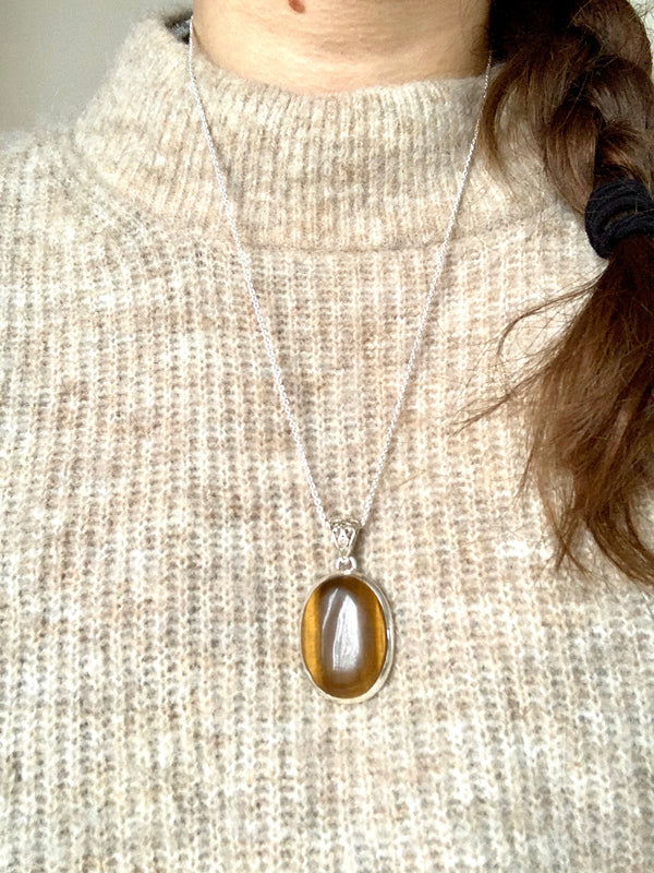 Tiger's Eye Ariel Pendant - Oval (Designed Bail) - Jewels & Gems