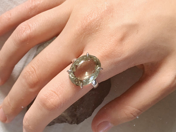 Green Amethyst Sanaa Ring - Large Oval - Jewels & Gems