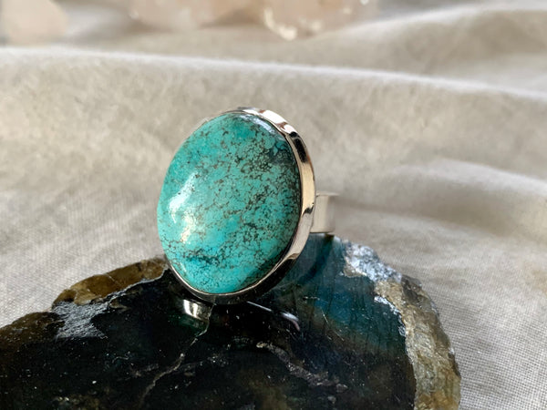 Tibetan Turquoise Ariel Adjustable Ring - Medium Oval - Jewels & Gems