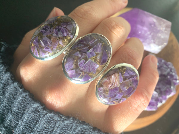 Copper Charoite Akoni Rings - Large Oval - Jewels & Gems