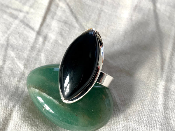 Black Onyx Adjustable Akoni Ring - Chunky Marquise