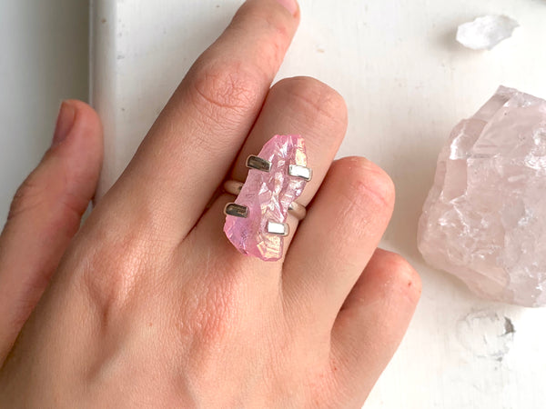 Light Pink Aura Quartz Ring (Medium)