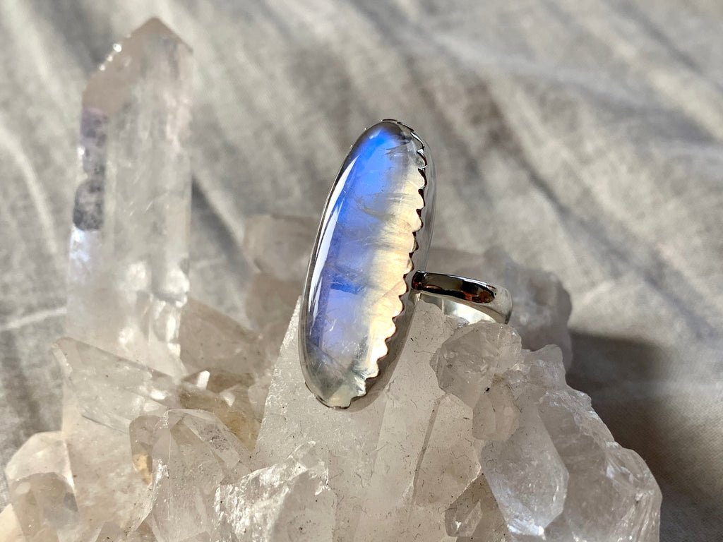Moonstone Juno Adjustable Ring - Long Oval (One of a kind) - Jewels & Gems
