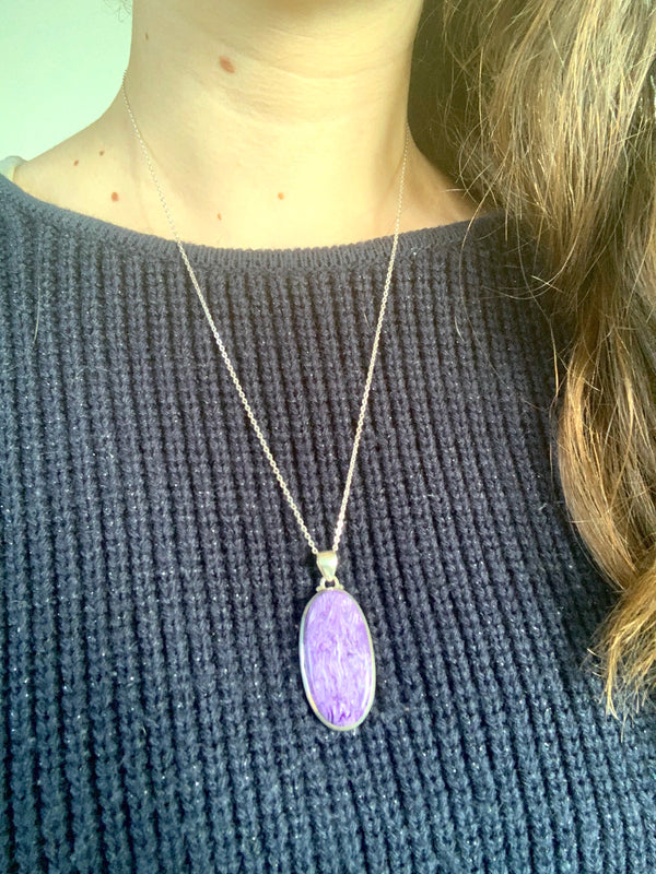 Charoite Akoni Pendant - Long Oval - Jewels & Gems