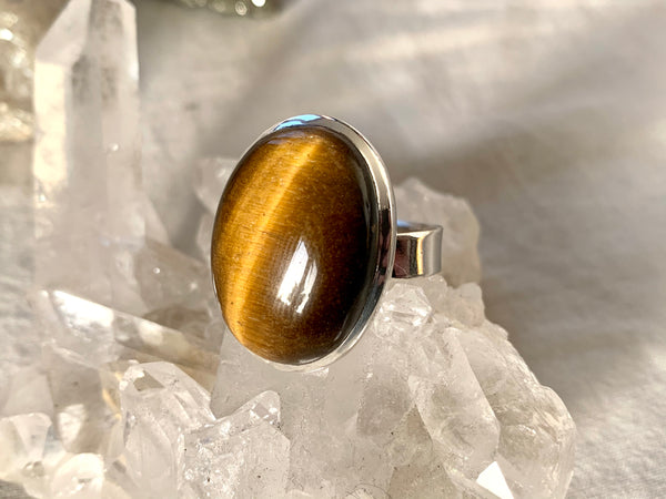 Tiger's Eye Adjustable Ring - Oval - Jewels & Gems