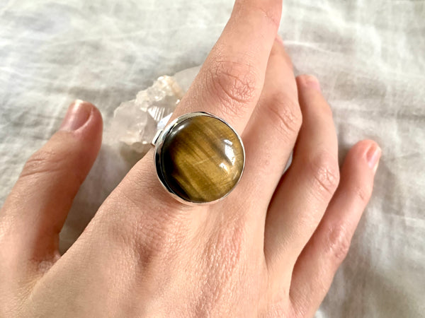 Tiger's Eye Naevia Ring - Large Round (US 9 & 9.5) - Jewels & Gems