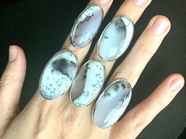 Dendritic Agate Ariel Ring - Long Oval - Jewels & Gems
