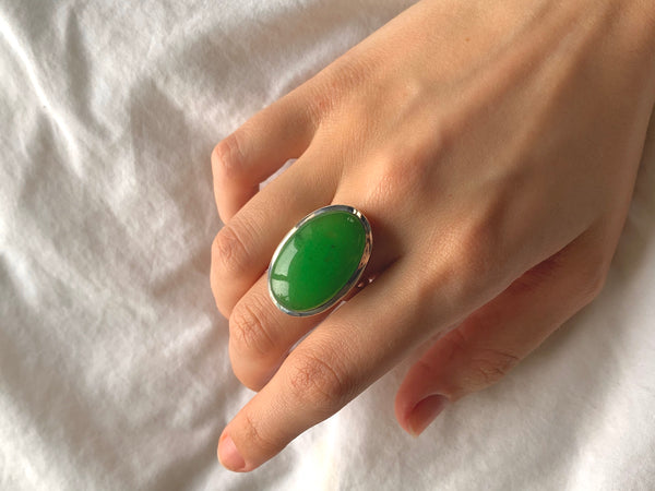 Nephrite Jade Adjustable Ring - Large Oval - Jewels & Gems