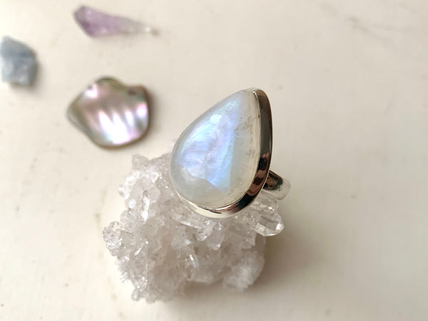 Moonstone Akoni Ring - Large Drop - Jewels & Gems