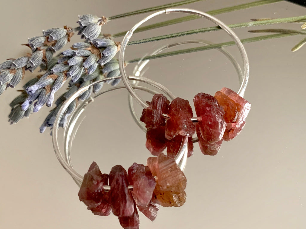 Raw Pink Tourmaline Hoop Earrings - Jewels & Gems