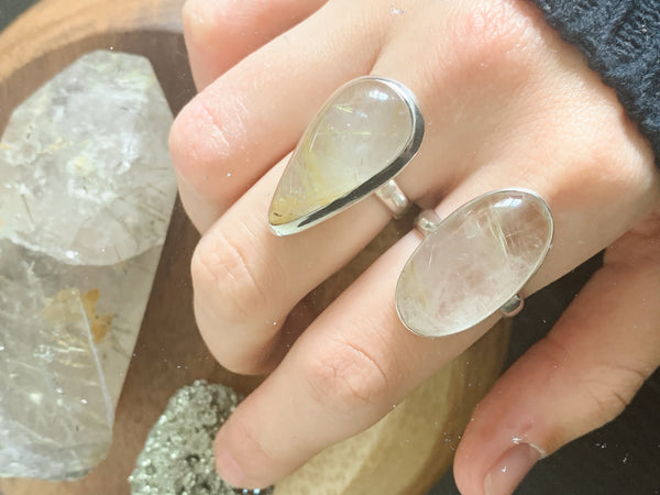Rutilated Quartz Akoni Rings Mix - Long Oval / Teardrop - Jewels & Gems
