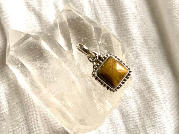Tiger's Eye Gala Pendant - Square - Jewels & Gems