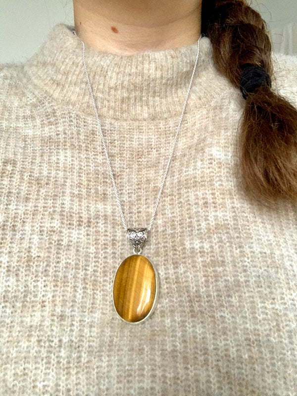 Tiger's Eye Akoni Pendant - XL Oval (Chunky Bail) - Jewels & Gems