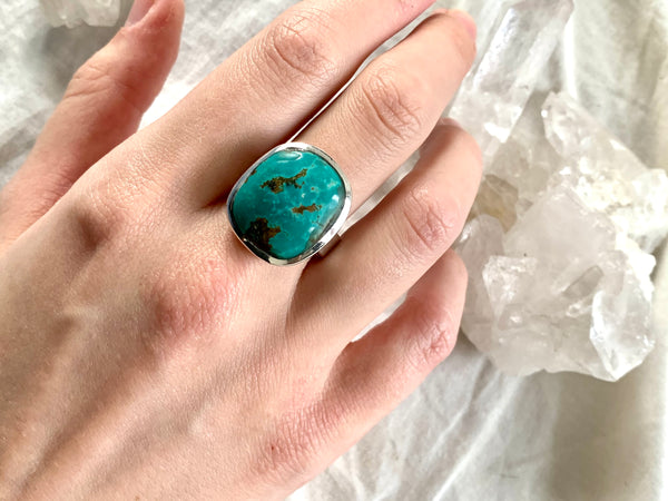 Tibetan Turquoise Adjustable Ring - Freeform - Jewels & Gems