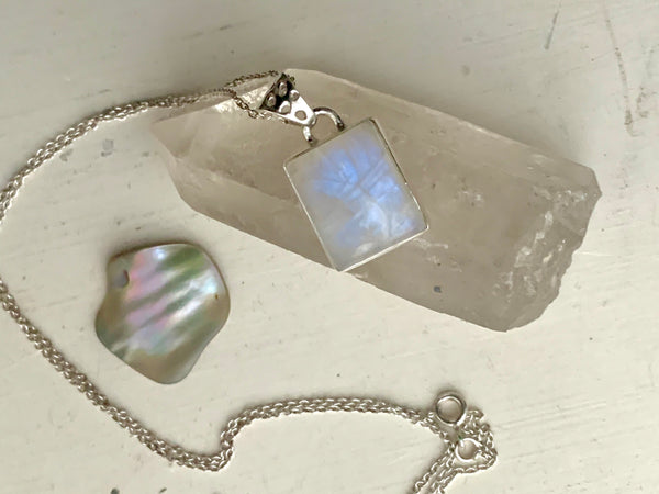 Moonstone Akoni Pendant - Square / Designed Bail - Jewels & Gems