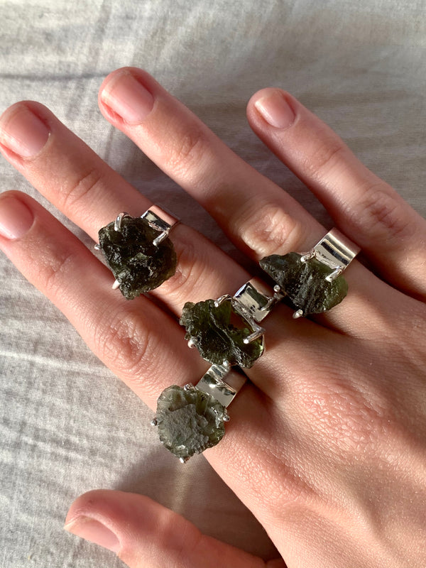 Moldavite Sanaa Ring - Freeform - Jewels & Gems
