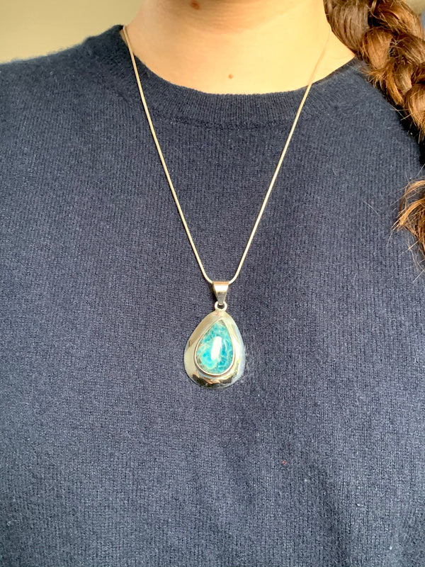 Blue Apatite Medea Pendant - Reg. Teardrop - Jewels & Gems