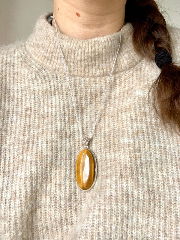 Tiger's Eye Ariel Pendant - XLong Oval (Designed Bail) - Jewels & Gems