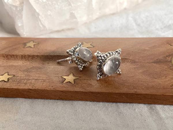 Rose Quartz Stella Studs - Jewels & Gems