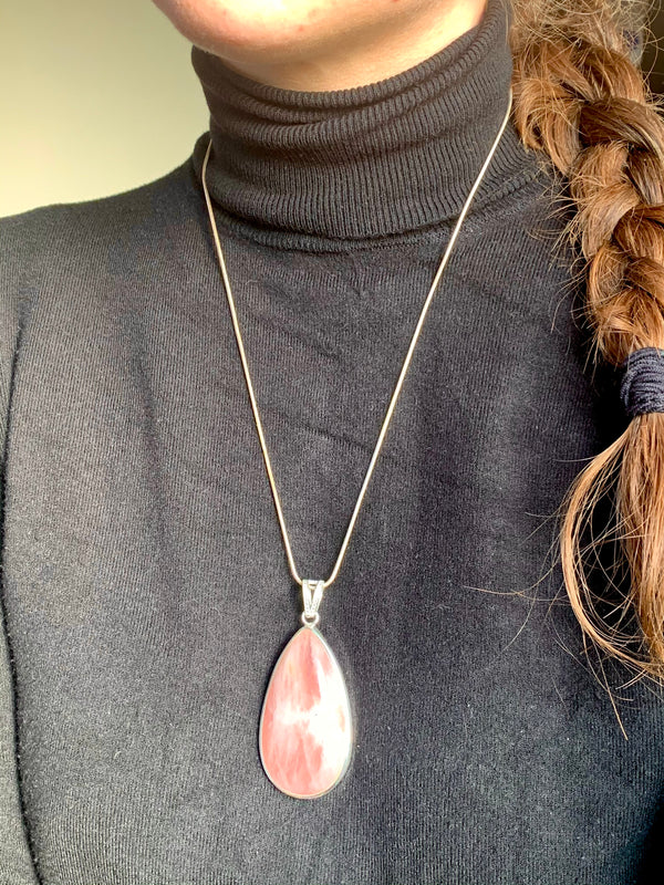 Rose Quartz Clarissa Pendant - XLarge Teardrop (One of a kind) - Jewels & Gems