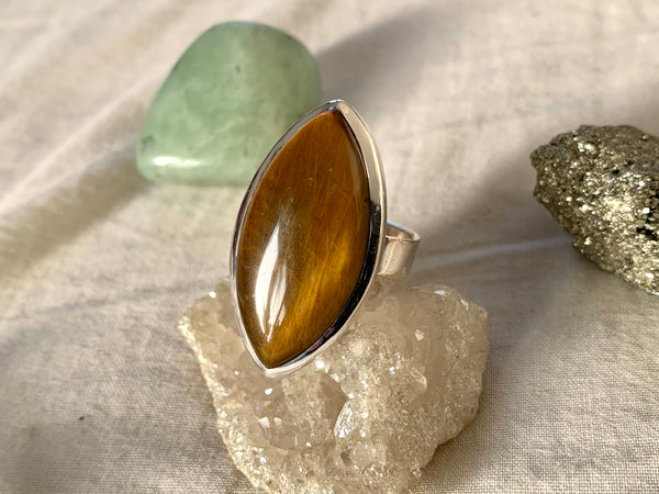 Tiger's Eye Adjustable Ring - Marquise - Jewels & Gems